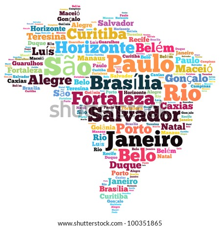 Brazil map and words cloud with larger cities - stock photo