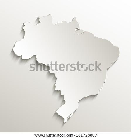 Brazil map card paper 3D natural raster - stock photo