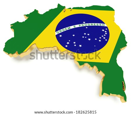 Brazil map contour with flag texture and golden border. - stock photo
