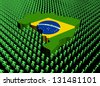 Brazil map flag surrounded by many abstract people illustration - stock photo