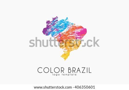 Brazil. Map of Brazil. Color Brazil. Creative logo Brazil - stock photo