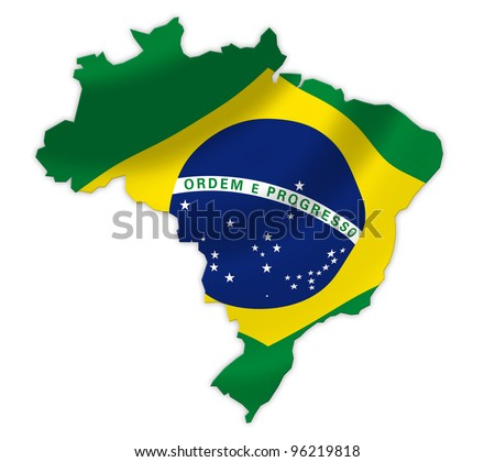 Brazil  map on a waving flag - stock photo