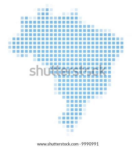 Brazil map square mosaic. Easy to recolor. - stock photo