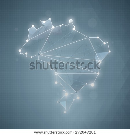 Brazil Map - Wire-frame (precise grid background) - stock photo