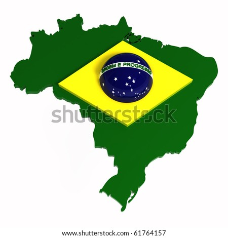 Brazil, map with flag, 3d illustration, isolated on white - stock photo