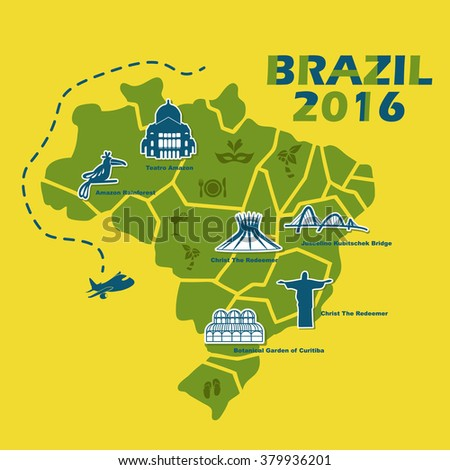 Brazil map with 2016 text, great for your design - stock photo
