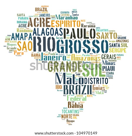 BRAZIL map words cloud of major cities with a white background