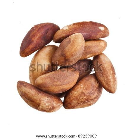 Brazil Nuts  isolated in white background - stock photo