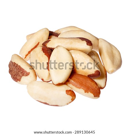Brazil nuts on white background close-up. - stock photo