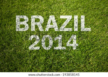 brazil 2014 on a green meadow - stock photo