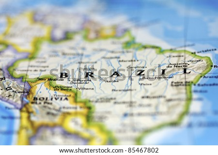 Brazil on the map. - stock photo