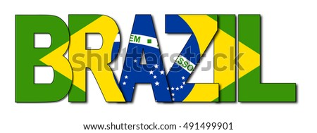 Brazil overlapping flag text illustration