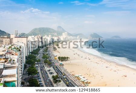 Brazil, Rio de Janeiro. The famous beach of Copacabana - stock photo