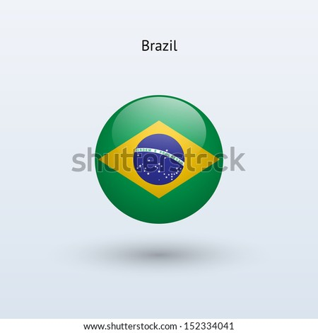 Brazil round flag on gray background. See also vector version. - stock photo