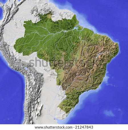 Brazil. Shaded relief map with major urban areas. Surrounding territory greyed out. Colored according to vegetation. Includes clip path for the state area. Data source: NASA - stock photo