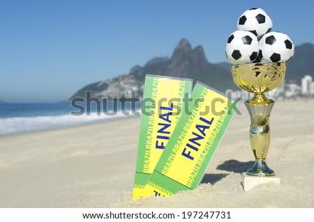 Brazil soccer champion trophy with final tickets Ipanema Beach Rio de Janeiro Brazil - stock photo