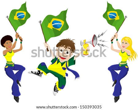 Brazil Sport Fan with Flag and Horn - stock photo