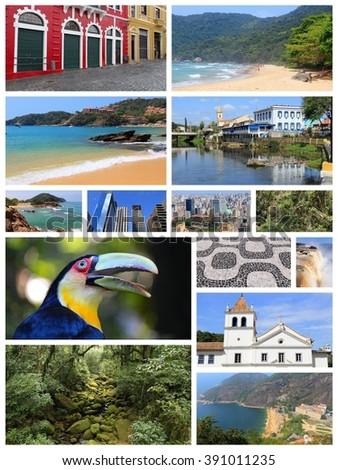Brazil travel collage with Sao Paulo, Rio de Janeiro, Iguazu and Curitiba. - stock photo