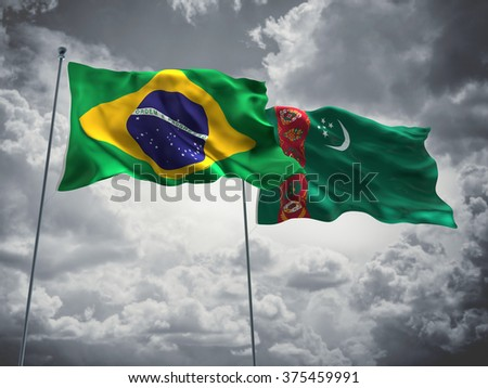 Brazil & Turkmenistan Flags are waving in the sky with dark clouds