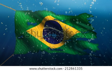 Brazil Under Water Sea Flag National Torn Bubble 3D - stock photo