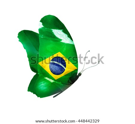 Brazil watercolor flag butterfly, isolated on white