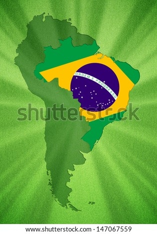 Brazil which is located in South America - stock photo