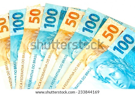 Brazilian 100 and 50 currencies . - stock photo