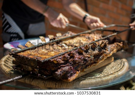 Brazilian Barbecue on stick, ribs on stake