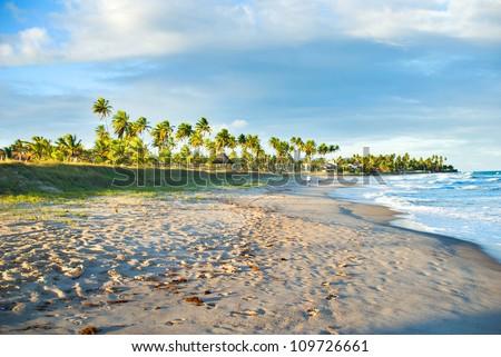 Brazilian Beach at sunset. - stock photo