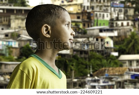 Brazilian boy looking to the infinite - stock photo