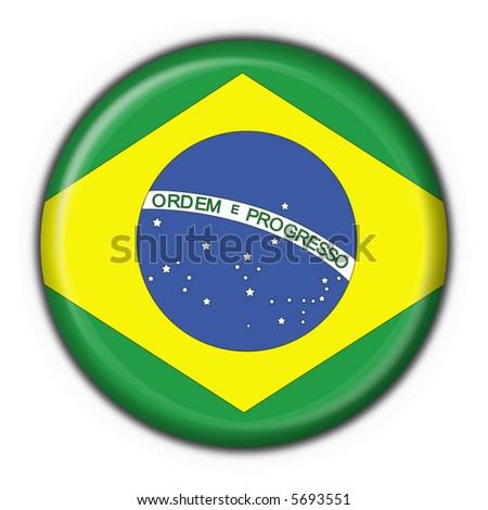 brazilian button flag round shape - stock photo