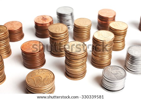 Brazilian coins background. Real coins and cent coins