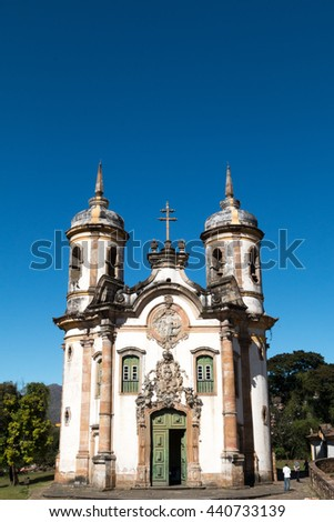 brazilian colonial architecture / heritage / detail of historic church built in the colonial period in Ouro Preto