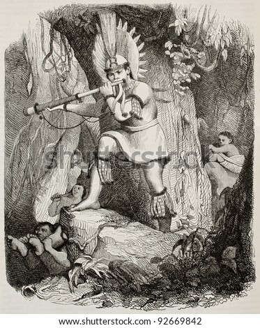 Brazilian Coroado indian playing fight signal old engraved portrait (tribe afterwards exterminated by land grabbers) . Created by Debret, published on Magasin Pittoresque, Paris, 1845