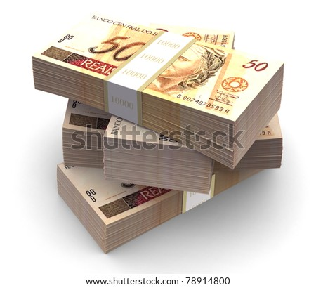 Brazilian currency bills packs on stack. Clipping path included. - stock photo