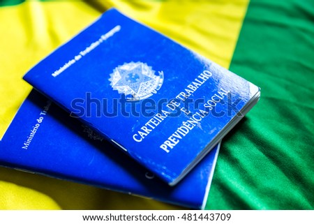 Brazilian document work and social security (Carteira de Trabalho e Previdencia Social) on the flag of Brazil