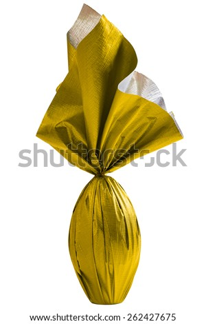 Brazilian Easters egg , wrapped in yellow paper, on a white background. - stock photo