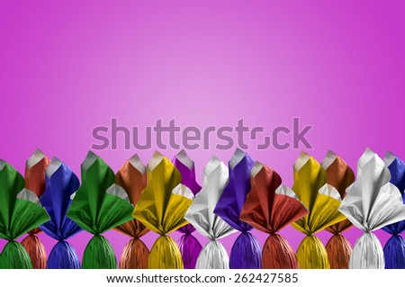 Brazilian Easters eggs, on a pink background. - stock photo