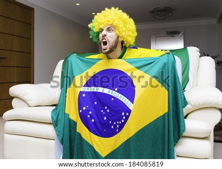 Brazilian fan celebrates at home - stock photo