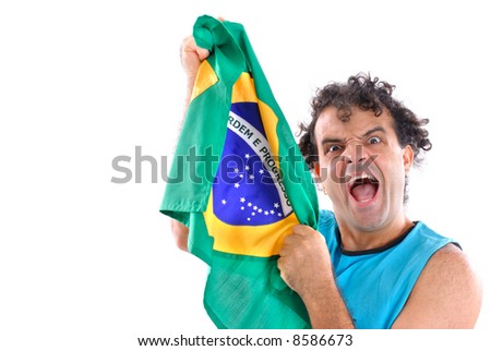 Brazilian Fan holding a brazilian flag and Scream .