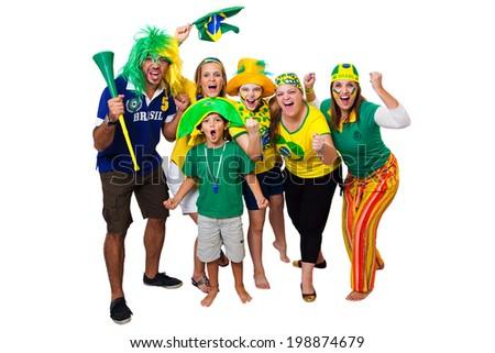Brazilian fans celebrating a Brazilian soccer team goal on white background - stock photo