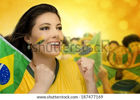 Brazilian fans, soccer - stock photo