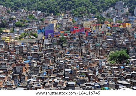 Brazilian favela  in Rio de Janeiro (shantytown) - stock photo