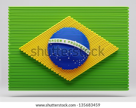 Brazilian Flag - Clipping Path - stock photo