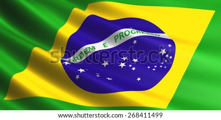 Brazilian flag fluttering in wind.
