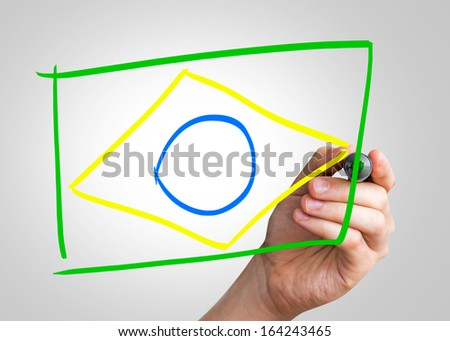 Brazilian Flag hand writing with a colorful mark on a transparent board - stock photo