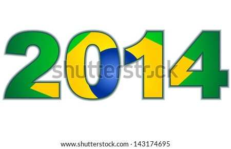 brazilian flag in 2014 date numbers - stock photo