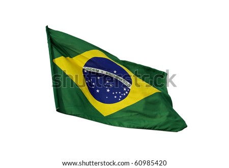 Brazilian flag, isolated on white background - stock photo