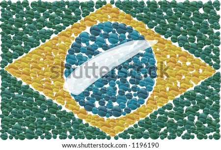 Brazilian flag made by little collored ball