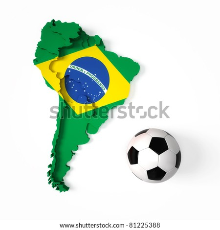Brazilian flag on South American map - stock photo